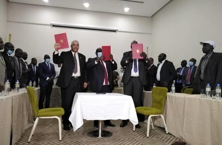 صورة توقيع اتفاقيات سلام بين حكومة السودان والجبهة الثورية بجوبا