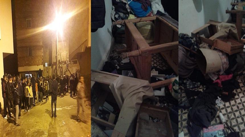 صورة بالصور والفيديو.. الأمن يلقي القبض على جانحين سرقا وخربا وأشعلا النار في محل خياطة بحي الرحمة بسلا