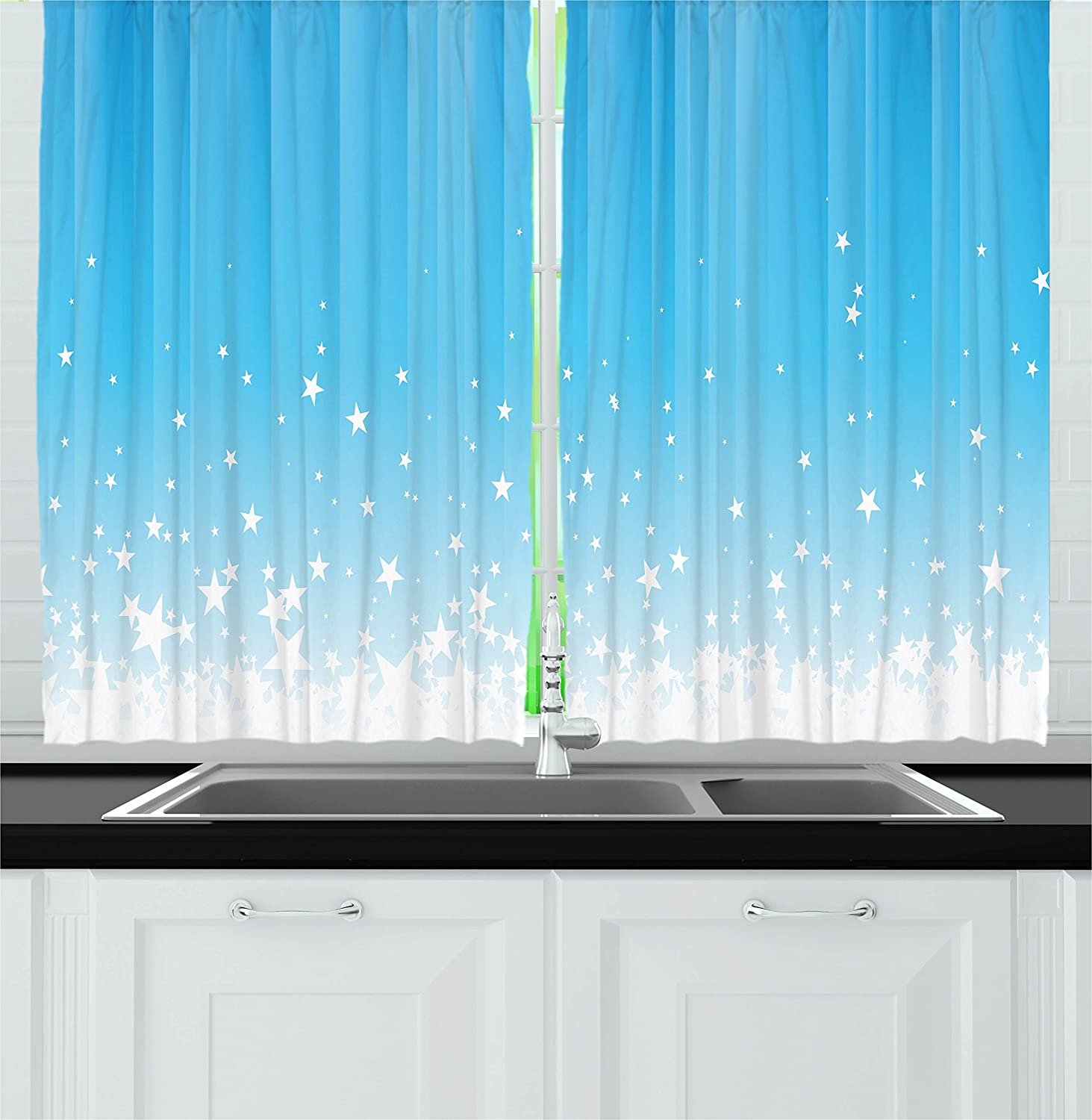 Amazon.com: Ambesonne Abstract Kitchen Curtains, Stars Splashing ...
